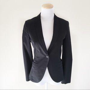 Zara Blazer Black Cotton Blend Work Jacket XS